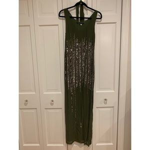Olive green crepe sequins gown French Connection